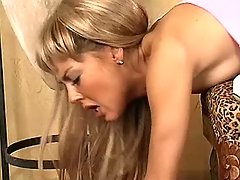 Blonde chick jumps on shemales dick